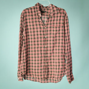 John Varvatos Medium Red Button Down Plaid Shirt
